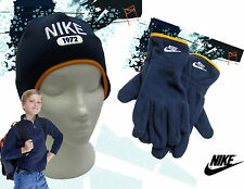 NIKE 1972 Fleece HAT and GLOVE Set Navy Blue Child AUTHENTIC Medium Age 6-7