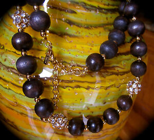"""Kate Spade New York """"Wood You Be Mine"""" Long Wooden Beaded Necklace 28"""" Brown"""
