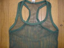 Camiseta de tirantes verde caqui talla L rejilla transparente puro sexy gay Ref