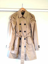 Vero Moda Camel Ruched Shoulder Trench with Faux Leather Button Detail/Small Exc