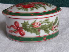 """Lefton China, 1990,  3 1/2"""" Trinket Box,  Rose and Holly Bouquet Pattern"""