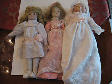 """3 OLD VINTAGE PORCELAIN DOLLS WITH UNKNOWN ORIGINS - 14"""" TO 15"""" TALL"""
