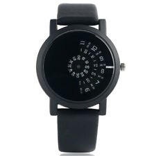 Casual Turntable Quartz Leather Strap Men Women Analog Wrist Watch Black/White