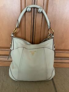 Auth PRADA White Leather Womens Shoulder Hobo Bag
