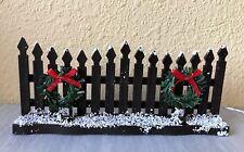 Miniature Dollhouse Fairy Garden ~ Christmas Brown Fence with Wreath & Led Light