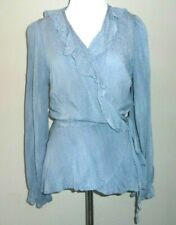 Staccato Women's Top Size Small Ruffle Wrap Blue