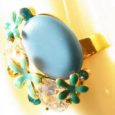USA RING Swarovski element Statement FLOWER Crystal Finger gold BLUE Sizable NEW