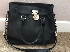Michael Kors Hamilton Black Leather Gold Lock & Chain Satchel Shoulder Bag Purse