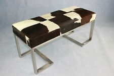 Luxury two seater Cowhide Mid Century Modern bench seat bed-end stool
