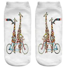Giraffe tandem socks pair Love in synch cycling couple present gift novelty sock