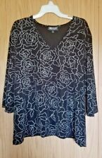 Fancy Classy Back Embellished w/Silver Briggs New York Size 3X Top Made in USA