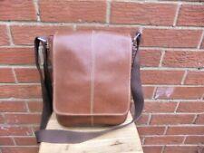 Tan Large Brown Leather Messenger Cross Body Shoulder Handbag