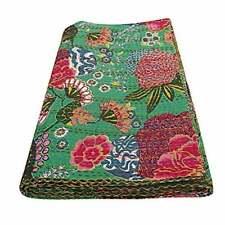 Indian Fruit Print Kantha Bedspread Handmade Bedding Blanket Twin Size Quilt
