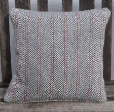 "New 16"" reversible zipped heavy herringbone tweed cushion grey, ivory, red"