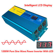 Double LED Pure Sine Wave Power Inverter 1200W/2400W Peak 12V To 110V Off Grid