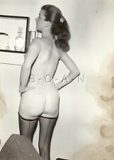 Original Vintage 40s-60s Nude RP- Brunette in Pony Tail- Seamed Stockings- Butt