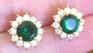 18K Yellow Gold Emerald Green and Diamond White Crystal Stud Earrings    298