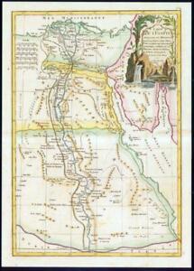 1782 - CARTE DE L'EGYPT ANCIENNE Large Map of Egypt by Bonne Colour (JM)