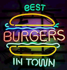 """Best Burgers In Town Neon Sign Light Beer Bar Gift 24""""x20"""" Lamp Decor Glass"""