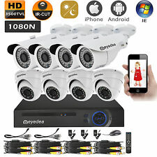 Eyedea DVR 8 CH Phone View 3500TVL 960P Night Vision CCTV Security Camera System
