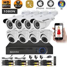 Eyedea HDMI DVR 8CH Outdoor 3500TVL LED Surveillance CCTV Security Camera System