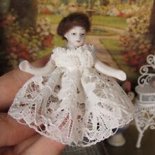 Artisan PORCELAIN GIRL DOLL Vtg Dollhouse Child Jointed Handmade Dress Clothing