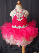 Halter Lace Infant/toddler/baby/kids Girl's Cupcake Pageant Dress For Newborn-4T