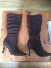 Ladies Boots Brown Two Tone Pu Suede  size UK 3 And Uk 8