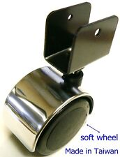 "Oajen 2"" 50mm chrome chair caster soft wheel, 4 pack, 5/8"" U bracket, hardwood f"