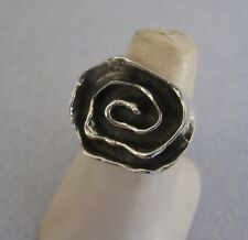 Mexican 925 Sterling Silver Taxco Oxidised Modern Infinity Spiral Ring Size 7.25