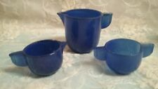 Antique Childs Play Cobalt Blue Glass Tea Pot-Creamer & Sugar, AGRO AGATE-J P