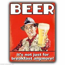 METAL SIGN WALL PLAQUE - BEER IT'S NOT JUST FOR BREAKFAST Retro humorous print