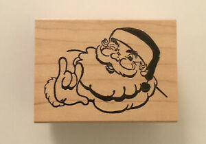 Santa Claus with ILY in ASL Rubber Stamp - Love Deaf American Sign Language