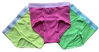 Men's Hanes Underwear Briefs: Neon Pack Of Three W/ Pink,Yellow, Green,Sz Medium