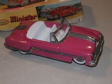 VINTAGE DARK PINK MINSTER DELUX TOY TIN FRICTION CAR! CONVERTIBLE! W/BOX! UNUSED