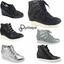 Womens Fashion Sneakers High Top Lace Up Breathable Flats Hidden Heel Shoes Size