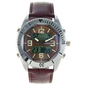 Men's Analog Digital Brown Leather Sport Watch By Timetech