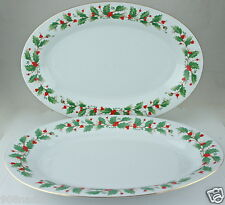 Pearl NOEL Fine Liling China Serving Tray Oval Christmas Holly Brown Stamp Pair