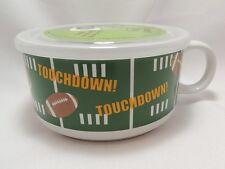 "Football Touchdown Microwave Souper Soup Coffee Mug Bowl 5-1/2"" Steam Lid"