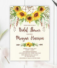 Sunflower Boho Baby Shower Invitation Rustic Floral Dreamcatcher Bridal Invite