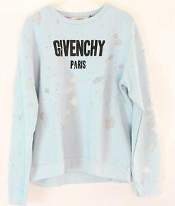 Givenchy Paris Herren Sweatshirt Pulli Pullover Destroyed look Blue Gr.XXL