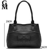 GM milano borsa fiocco bauletto spalla donna tracolla pelle messenger nera italy