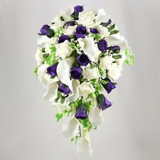 Artificial Wedding Flowers Silk Brides Shower Bouquet Purple Ivory Calla Lily