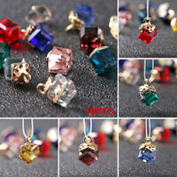 10pcs 8mm Crystal Glass Cube Square Faceted Loose Spacer Beads Jewelry Making