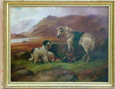 ROBERT CLEMINSON 1844-1903 BRITISH HIGHLAND PONY AND SETTERS SPORTING LANDSCAPE