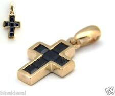 Ladies Girls 9ct GOLD SMALL REAL SAPPHIRE CROSS PENDANT No Chain B'day GIFT BOX