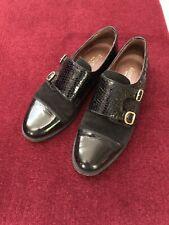 Russell bromley tamaño 4/37 Negro Suede & Leather Zapatos Planos con doble hebilla