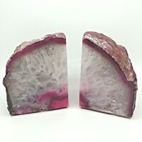 "LARGE PINK AGATE CRYSTAL GEODE BOOKENDS 11 lbs+ Total and 6"" Tall 3"" Deep Each"