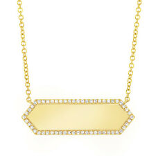 Diamond Pendant 14K Yellow Gold Engravable ID Dog Tag Name Plate Necklace 0.12ct
