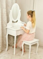 Girls White Wooden Make Up Dressing Table Crystal Knobs, Stool & Mirror 8-13Yrs